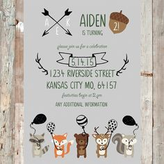 Woodland Friends Birthday Invitation forest animal by T3DesignsCo