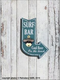 Décapsuleur Surf Bar bleu, déco bord de mer, Sphere Inter