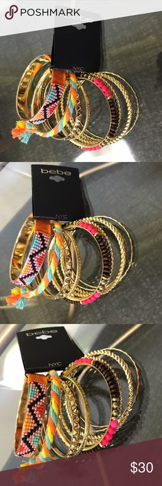 NWT bebe Bangle Bracelet Set This bebe Multi-Colored Bangle Bracelet Set gives me serious Boho vibes and Spring Fever!!  Super vibrant and fun colors are what you will find in this 9 piece set!  Comes with 6 plain gold bangles with various design details, 1 pink/brown/gold beaded bangle, 1 multi-color and orange string bangle, and 1 yellow/orange/blue rope fringe bangle.  *Shop my closet for discounts on bundles* bebe Jewelry Bracelets