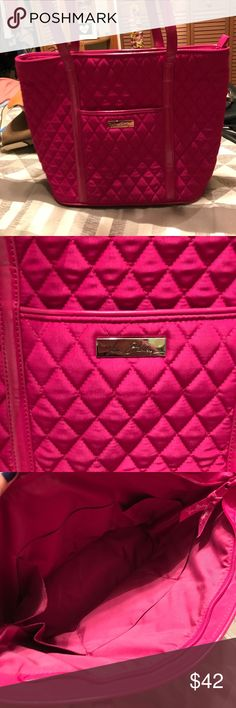 Vera Bradley tote bag This fuchsia colored Vera tote bag is used but in good condition. It is very spacious on the inside with many pockets. There is one dark marking that is shown in pictures. All zippers are functioning. Vera Bradley Bags Totes