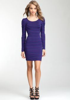 Striped Long Sleeve Jersey Dress.