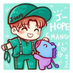 Jhope & mang ♡ 7 idiots who ruined my life fanart фан арт, ч Jhope, Hoseok Bts, Bts Bangtan Boy, Jimin, Taehyung, Bts Chibi, Anime Chibi, Bts Drawings, Bts And Exo