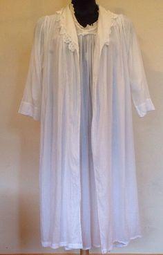 CELESTINE Cotton Victorian Nightgown Robe Set  Cordurler Huber-Harth Germany #CELESTINE #NIIGHTGOWN #NIGHT