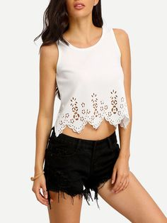 892eb9b6e6 Sexy White Crop Top Tank with Laser Cut and Scalloped Design