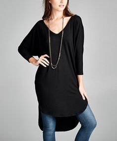 Another great find on #zulily! Black Dolman Hi-Low Tunic by Paolino #zulilyfinds
