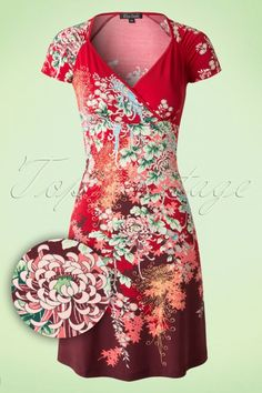 King Louie Flamingo Floral  Red Gina Dress  102 27 15554 20150729 0006W2