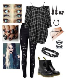 Chill day by emo-roxanne featuring Boohoo, WithChic, Dr. Martens, Eva Fehren and Hot Topic Tomboy Outfits, Cute Emo Outfits, Bad Girl Outfits, Scene Outfits, Teenage Outfits, Gothic Outfits, Grunge Outfits, Grunge Fashion, Outfits For Teens