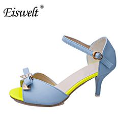 00dc08642a8 Eiswelt Women Shoes Fashion Peep Toe Sexy High Heels Sandals Thin Heel  Bowknot Sandals Wedding Party