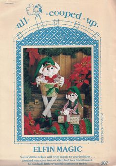 "Two Elves Sewing Pattern - ""Elfin Magic"" - Vintage - Collectible - All Cooped Up Designs Un-Cut Craft Patterns - Decoration - Gift by KrissesKorner on Etsy"