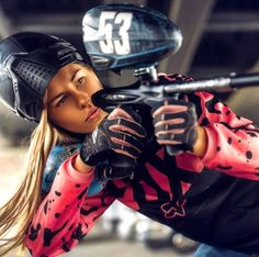 She has the looks and the tools... #paintball #girls                                                                                                                                                     More