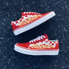 New arrival! 100% Authentic Vans with Custom Flames All shoes are brand new with tags and come in originals vans box. Flames come in red and blue as shown in pictures. These custom vans are only available at Rebcoshop! Dont miss out and cop these dope sneakers no one else has! Perfect for