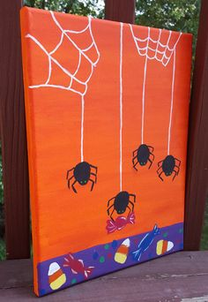 Halloween Themed Decor , Spiders , Candy and Webs Decoration, Halloween Canvas…
