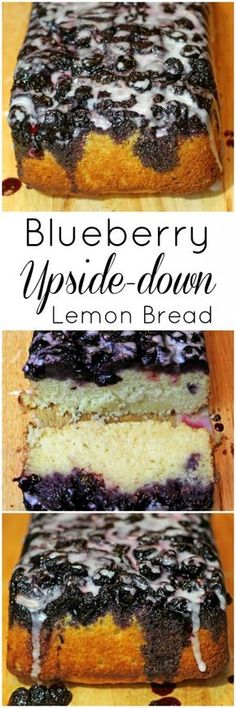 Blueberry Upside Down Lemon Bread Recipe made with cornmeal to give it that nice golden hue! So delicious and easy to make! Would be great for a brunch or dessert! #PanFam