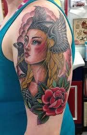What does valkyrie tattoo mean? We have valkyrie tattoo ideas, designs, symbolism and we explain the meaning behind the tattoo. Valkyrie Tattoo, Sparrow Tattoo, Tattoos For Women, Woman Tattoos, Neo Traditional Tattoo, Tattoos With Meaning, Picture Tattoos, Tattoo Inspiration, Pin Up