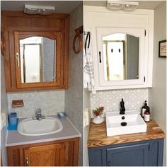 Camper Hacks Discover 31 Stunning RV Interior Remodelling Ideas (With Pictures!) Vehicle HQ 31 Stunning RV Interior Remodelling Ideas (With Pictures! Remodel Caravane, Casa Magnolia, Camping Vintage, Vintage Rv, Rv Bathroom, Bathroom Fixtures, Bathroom Remodeling, Small Bathroom, Gold Bathroom