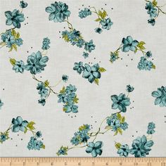 Painted Petals Metallic Petal Vine Dusty Teal/Silver from @fabricdotcom  From Hoffman California International, this cotton print collection features watercolor-esque and sketched floral prints. Use for quilting, apparel, and home decor accents. Colors include shades of green, teal, white, and metallic silver accents.