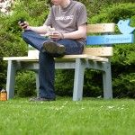 TweetingSeat is an interactive park bench which is designed to explore the potential for connecting digital and physical communities. The bench logs its usage by uploading images of its users and environment to a live Twitter feed, allowing people to interact with it both in person and virtually.