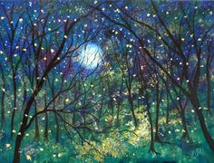 Fireflies under springtime moon by Jean Vadal Smith on Etsy