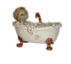 A goblin's name: Woodland Pixies in a bath-tub  Size: 12 cm