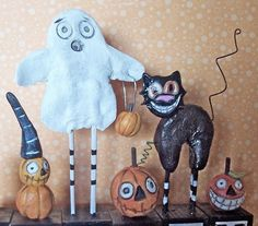 Customize your name Halloween-clay folk art by indigotwin on Etsy