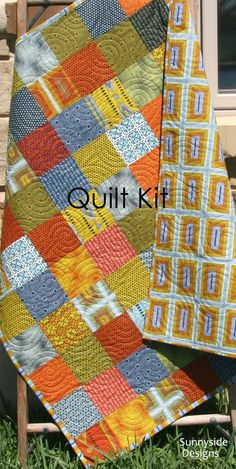 Quilt Kit Shaman Parson Gray Tan Brown Blue by SunnysideFabrics