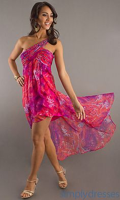 One Shoulder High-Low Print Dress at PromGirl.com destination wedding