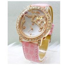 2.99$  Buy here - http://alix9k.shopchina.info/go.php?t=1738103770 - Fashion Hot Sale Lovely beauty Hello kitty watch Children Girl Women crystal dress quartz wristwatch kt002 2.99$ #bestbuy