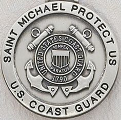 Michael the Archangel Military Armed Forces Coast Guard Medal with Rhodium Chain in Gift Box. Michael the A.