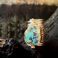 Kami Lerner - Turquoise Sleeping Beauty Wire Wrap Ring (wide)