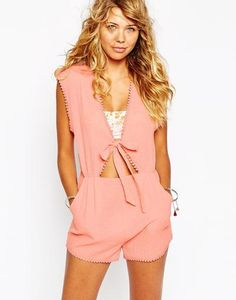 Some Days Lovin Finely Tuned Beach Playsuit at asos.com #allinone #pink #playsuit #beachwear #covetme