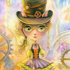 Lulu Cat Girl. Watercolor Painting
