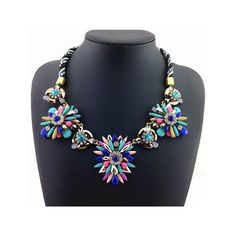 Rainbow Color Resin Stone Flower Statement Necklace , Factory Price, Worldwide Free Shipping!