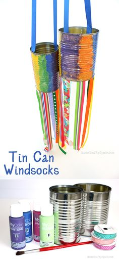 Easy DIY Tin Can Windsocks | Easy and Fun DIY Kids Crafts by DIY Ready at www.diyready.com/diy-kids-crafts-you-can-make-in-under-an-hour/