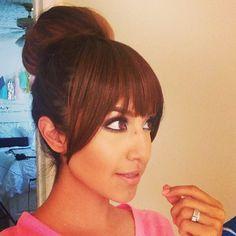 Cute bun with bangs