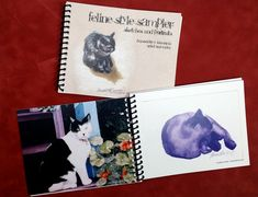 """""""Feline Style Sampler"""" book of sketches and portraits."""