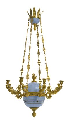 date unspecified A pair of Charles X style ormolu and blue opaline glass eight-light chandeliers late century Estimate — USD LOT SOLD. USD (Hammer Price with Buyer's Premium) French Empire Chandelier, Bronze Chandelier, Antique Chandelier, Antique Lighting, Chandelier Lighting, Chandeliers, Antique Lamps, Decoration, Art Decor