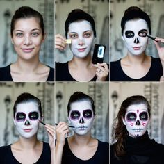 Dia De Los Muertos – The Traditional Mexican Sugar Skull Makeup Look Tutorial step by step sugar skull face painting Costume Makeup, Party Makeup, Candy Skull Makeup, Candy Skulls, Candy Skull Costume, Skeleton Makeup, Sugar Skull Halloween Costume, Skeleton Face Paint, Fantasy Makeup