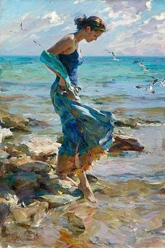 Very peaceful painting of lovely woman by the sea.