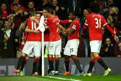 The lads congratulating Juan Mata after his goal ♥