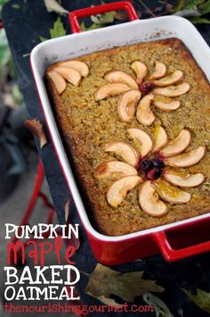 Recipe: Pumpkin Maple Baked Oatmeal. Why? Because pumpkin, pure maple syrup, and oatmeal belong together, that's why! Delicious!