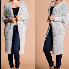 Grey Fuzzy Cardigan Trendy cardigan that's super soft and cozy. Silver gray dolman sleeves with two front pockets. Very versatile great with leggings, jeans or dress.                                                             One size. Stretchy fabric made of cotton and acrylic.                                                                        Please do not purchase this listing. Comment below for your bundle listing. Gin Sweaters Cardigans