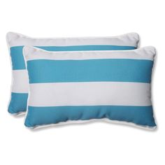 Pillow Perfect Cabana Turquoise Stripe 18.5x11 in. Rectangle Throw Pillow - Set of 2 - 571539