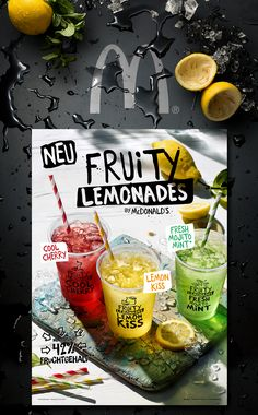 Fruity Lemonades // Summer is coming! It's time for some fresh and fruity Lemonades. In addition to smoothies and Frappés, in 2017 McDonald's Germany invented Fruity Lemonades: available in three flavours, lemon (Lemon Kiss), cherry (Cool Cherry) and mi… Lemonade Menu, Cherry Lemonade, Juice Menu, Juice Ad, Dog Recipes, Coffee Recipes, Menu Design, Food Design, Menu Bar