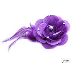 Silk Fabric Stain Rose Hair Clips Corsage Brooch Feather Flowers Bouquets Purple