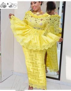 African lace and bazin dress. All items are custom made to fit, please allow production time as in shipping policy. This dress can be made in any color or length of your choice. You can add an optional message (size, color, or other custom) to me in the Latest African Fashion Dresses, African Dresses For Women, African Print Fashion, Africa Fashion, African Attire, African Women, Nigerian Fashion, African Clothes, Ankara Fashion