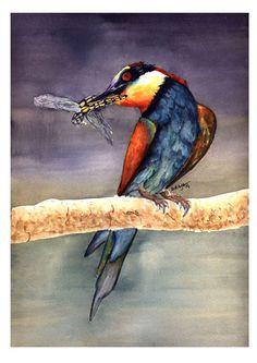 Soraya Pamplona - Print Aquarela Passarinho com libélula