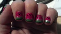 My current manicure - watermelon nails!