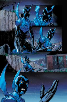 Blue Beetle. Looks like he's having a talk with the scarab. :)