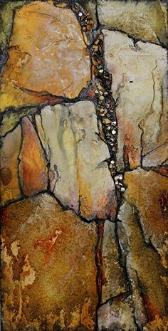 Ancient Wood, 041015 by Carol Nelson mixed media ~ 12 x 6