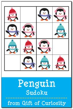 Free printable Penguin Sudoku puzzles adapted for use by young children || Gift of Curiosity